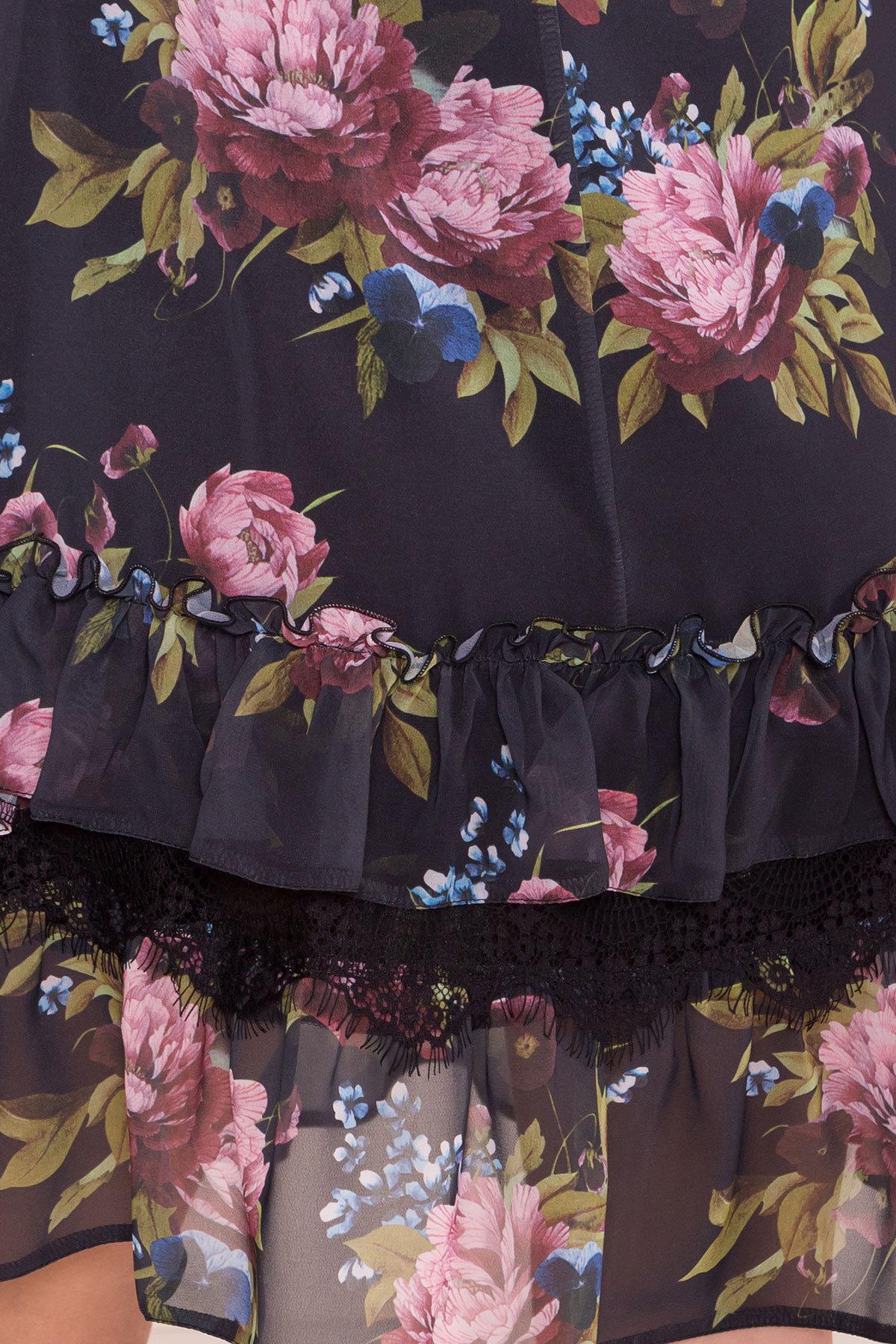 Платье Нектар 6916 АРТ. 43314 Цвет: Пионы черные - фото 4, интернет магазин tm-modus.ru
