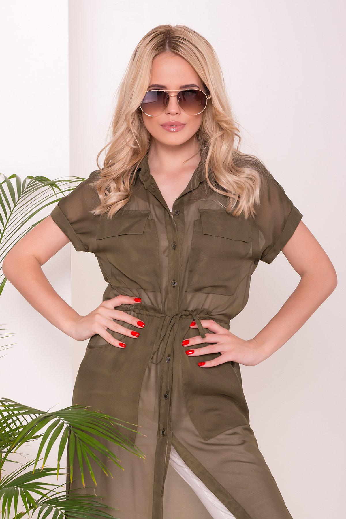 Платье-рубашка Эриал 7544 АРТ. 43466 Цвет: Хаки - фото 3, интернет магазин tm-modus.ru