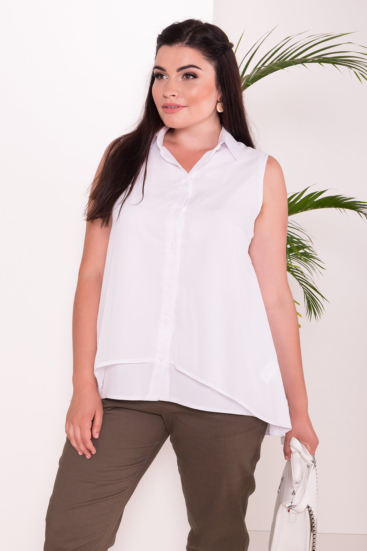 Рубашка Мелория Donna 7521 АРТ. 43455 Цвет: Белый - фото 3, интернет магазин tm-modus.ru