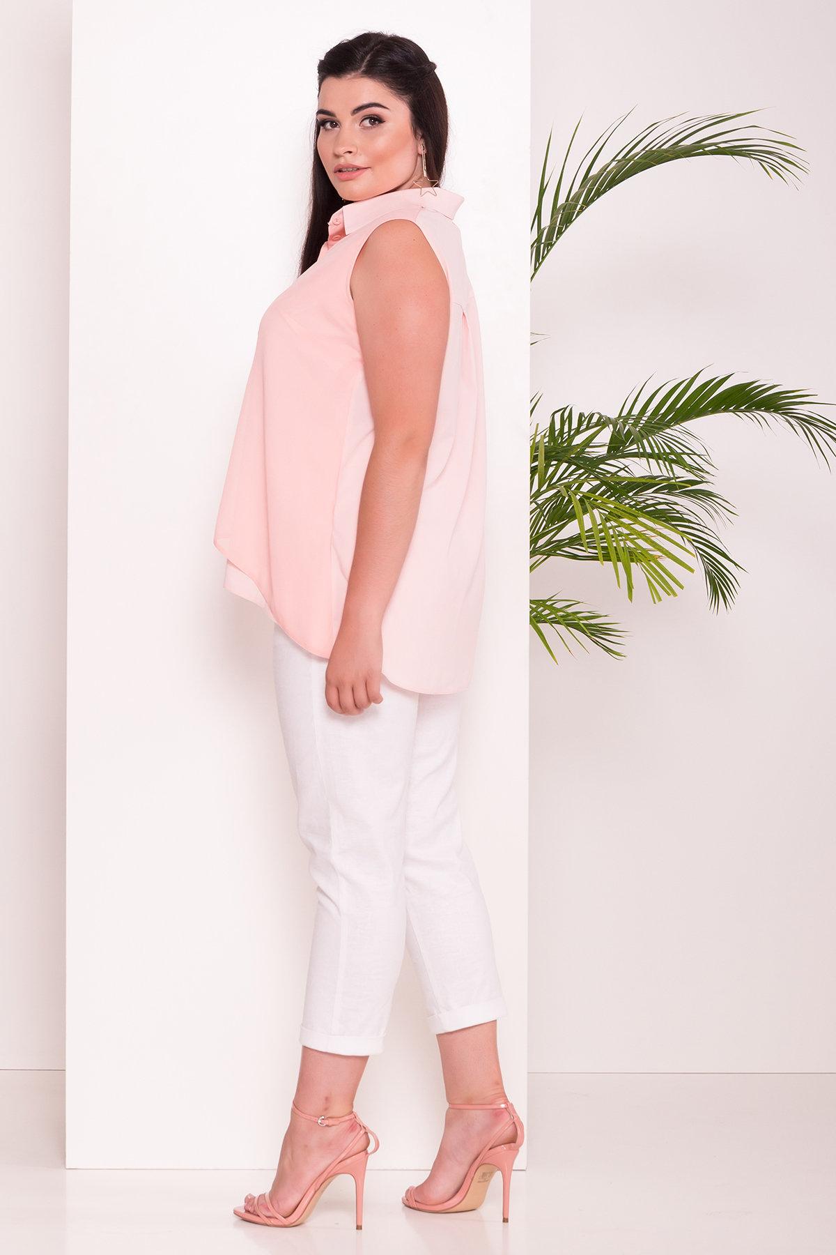Удлиненная Рубашка Мелория Donna 7521 АРТ. 43456 Цвет: Пудра Светлая - фото 2, интернет магазин tm-modus.ru