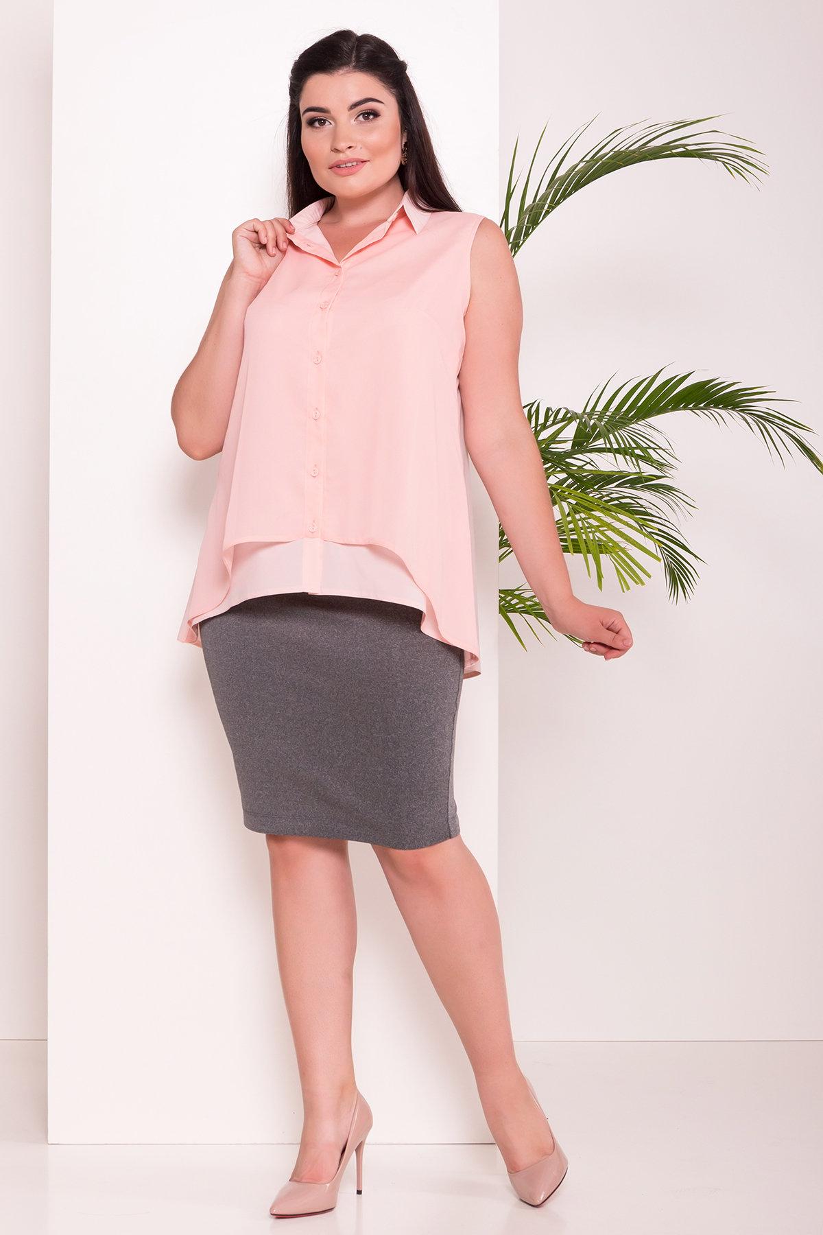Удлиненная Рубашка Мелория Donna 7521 АРТ. 43456 Цвет: Пудра Светлая - фото 3, интернет магазин tm-modus.ru