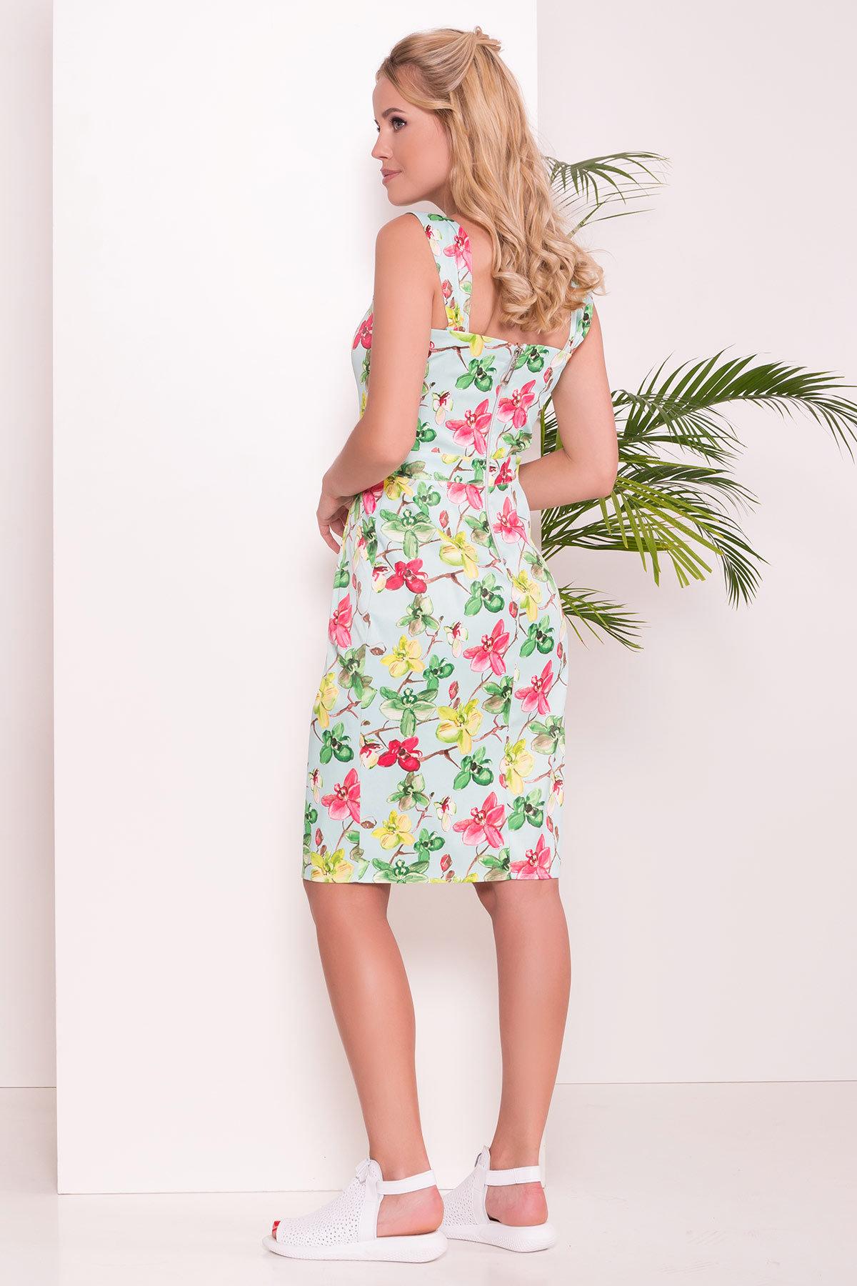 Платье Унгаро 7273 Цвет: Цветы на ветке мята/роз