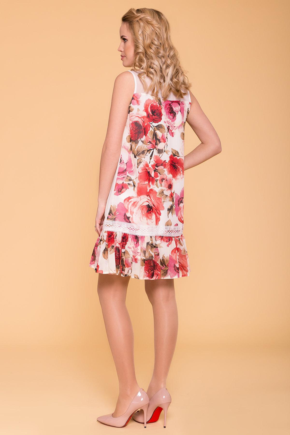 Платье  Инга 6914 АРТ. 43265 Цвет: Розы молоко/красный - фото 2, интернет магазин tm-modus.ru