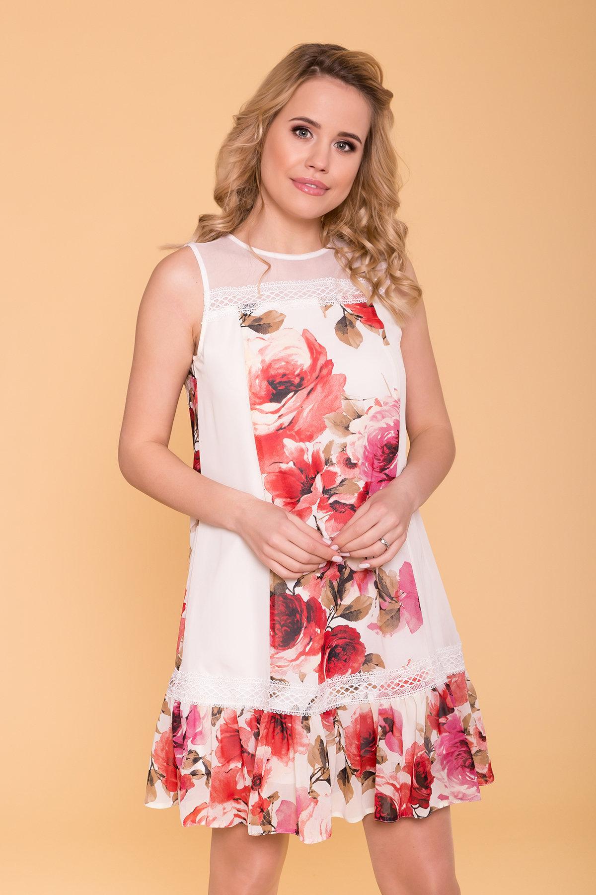 Платье  Инга 6914 АРТ. 43265 Цвет: Розы молоко/красный - фото 3, интернет магазин tm-modus.ru