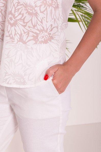 Зауженные укороченные Брюки Линдос  7539 Цвет: Белый