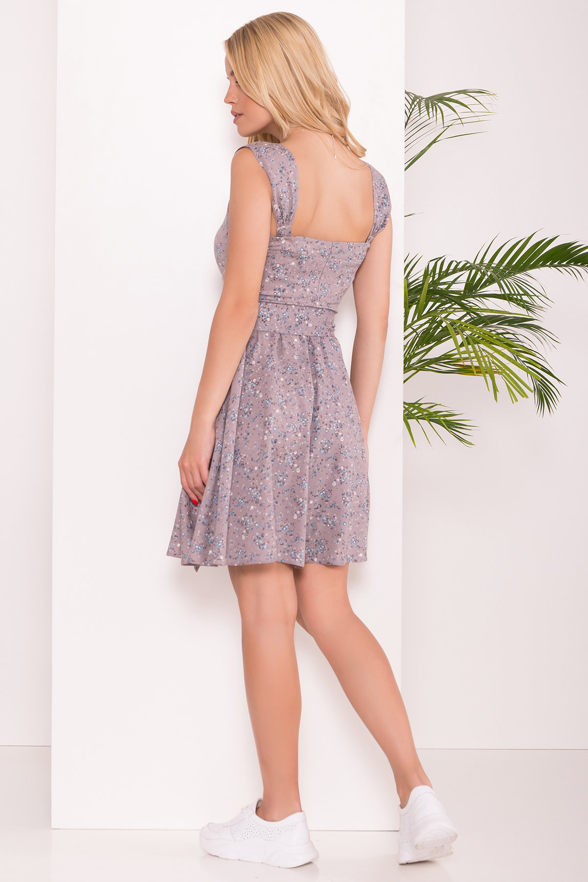 Платье Джонни 7586 Цвет: Цветы голуб мал/сер