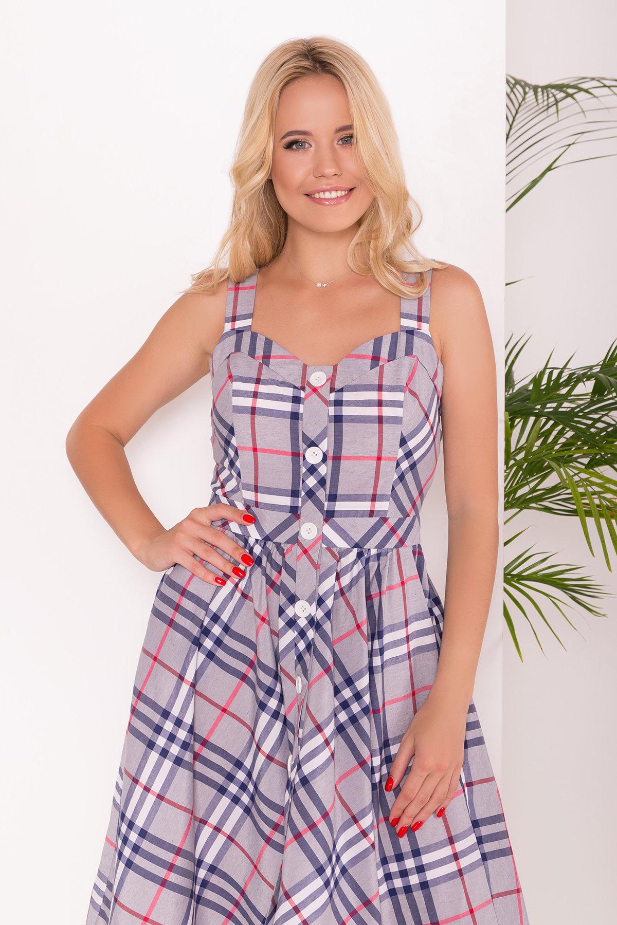 Платье Ивиса 7617 Цвет: Серо-синий-коралл