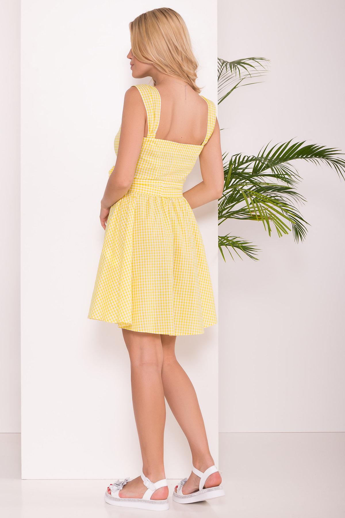 Платье Джонни 7584 АРТ. 43527 Цвет: Клетка мел жел/бел - фото 2, интернет магазин tm-modus.ru