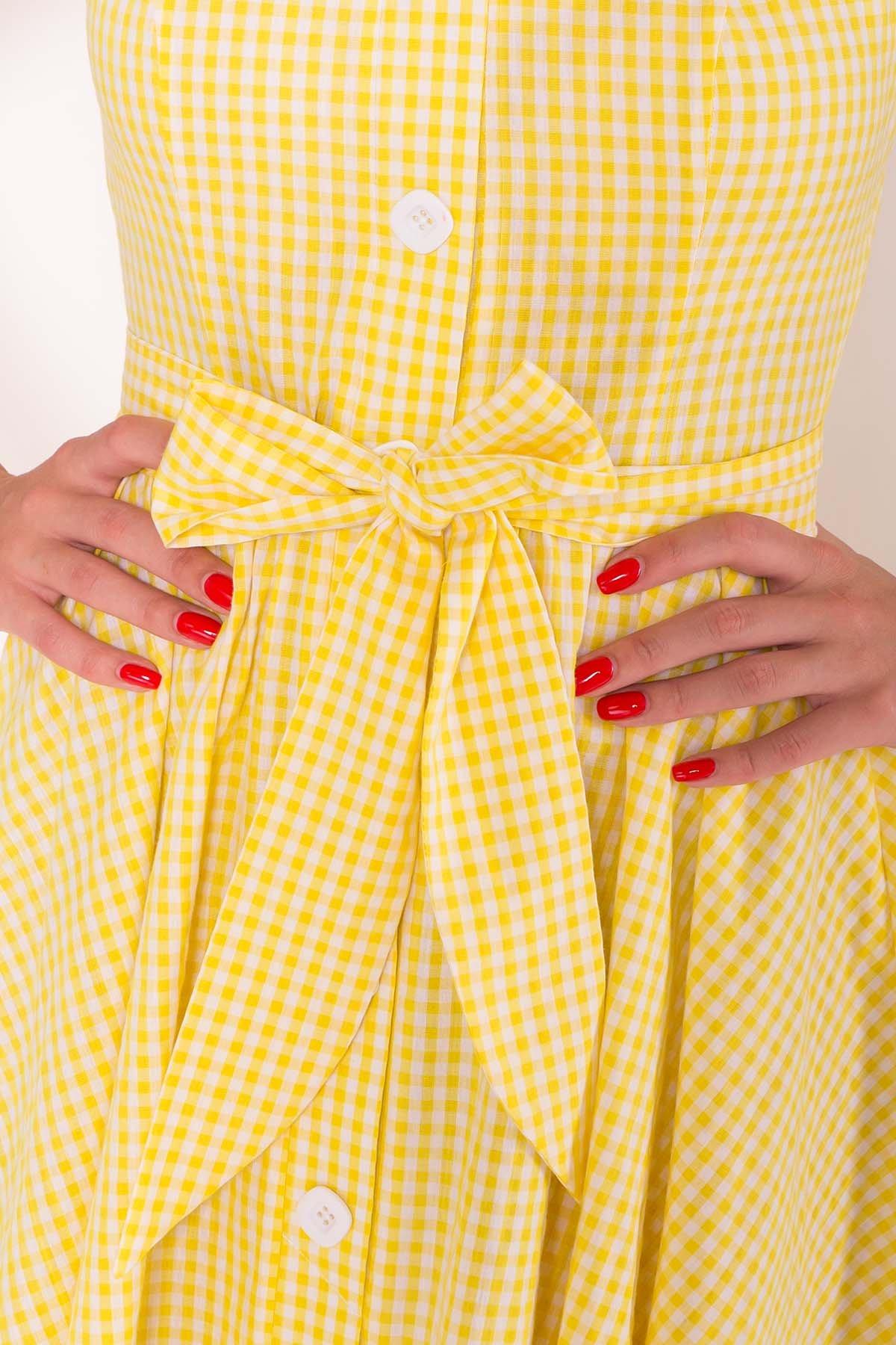Платье Джонни 7584 АРТ. 43527 Цвет: Клетка мел жел/бел - фото 4, интернет магазин tm-modus.ru