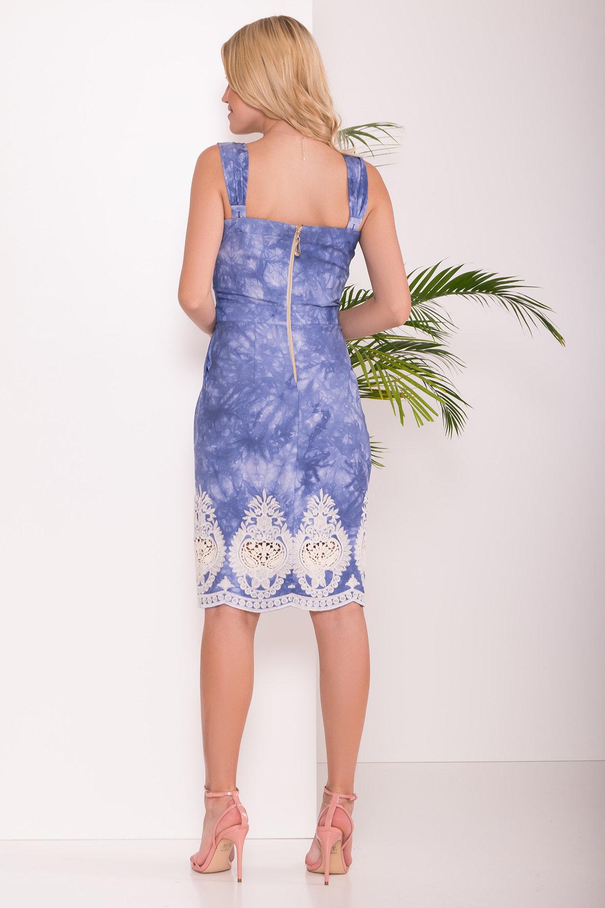 Платье Унгаро 7625 АРТ. 43550 Цвет: Джинс варенка Вензеля молоко - фото 2, интернет магазин tm-modus.ru