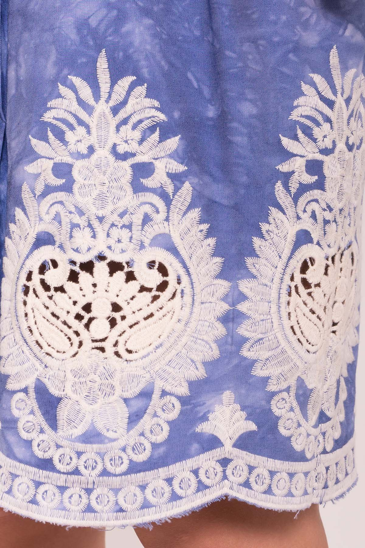 Платье Унгаро 7625 АРТ. 43550 Цвет: Джинс варенка Вензеля молоко - фото 4, интернет магазин tm-modus.ru