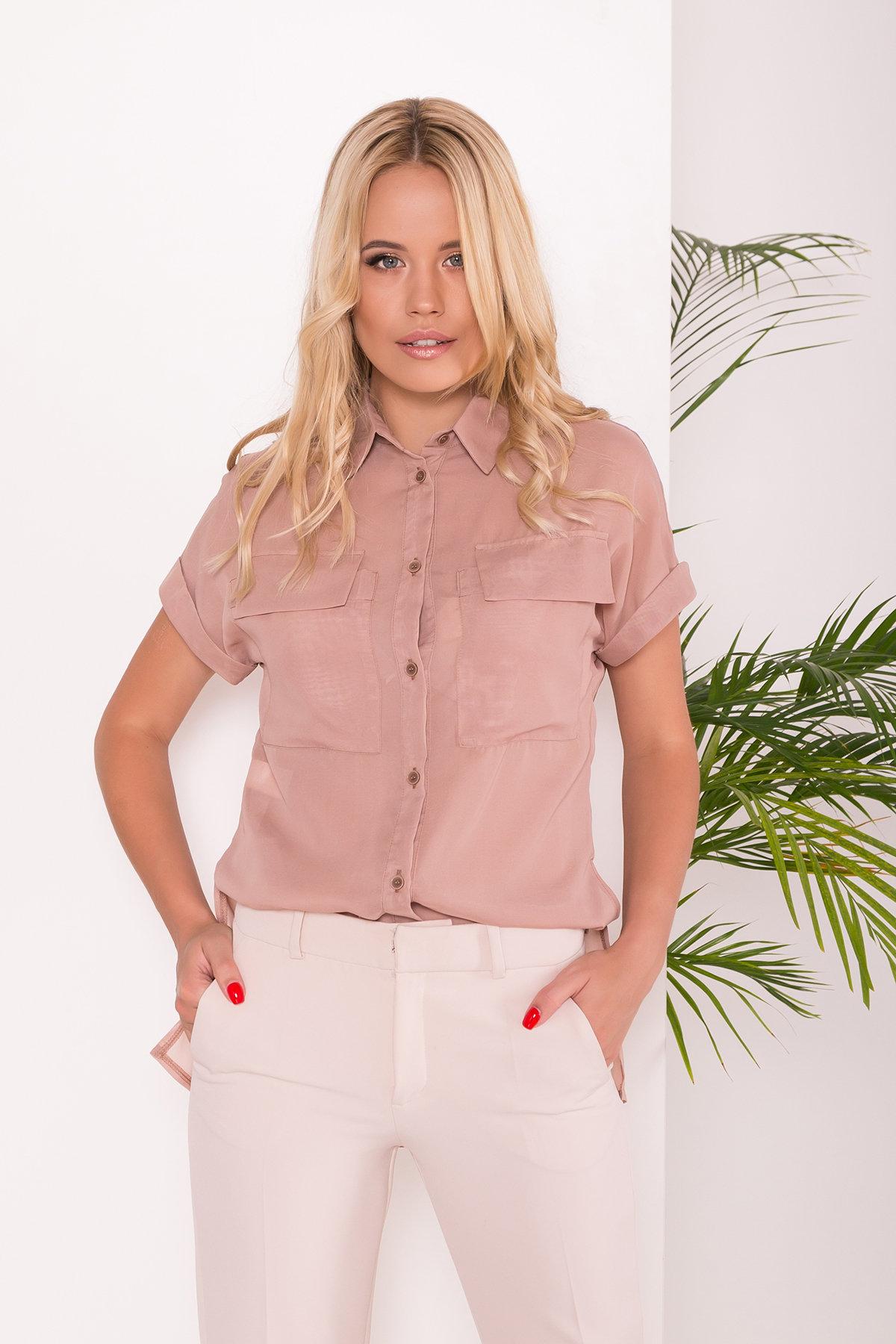 Шифоновая Рубашка Айра 7456 АРТ. 43420 Цвет: Бежевый - фото 3, интернет магазин tm-modus.ru