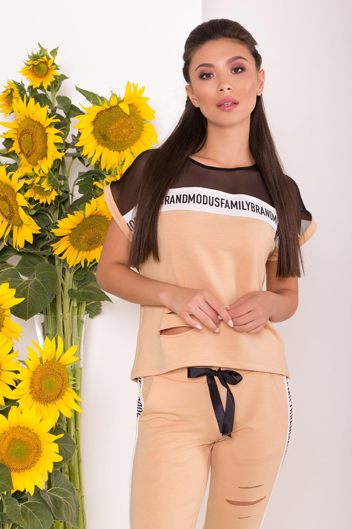 Летний брючный костюм с топом Кари 7546 Цвет: Бежевый/молоко/черный