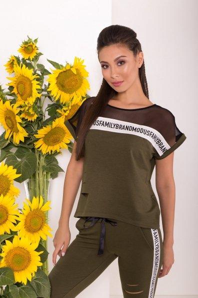 Летний брючный костюм с топом Кари 7546 Цвет: хаки/молоко/черный