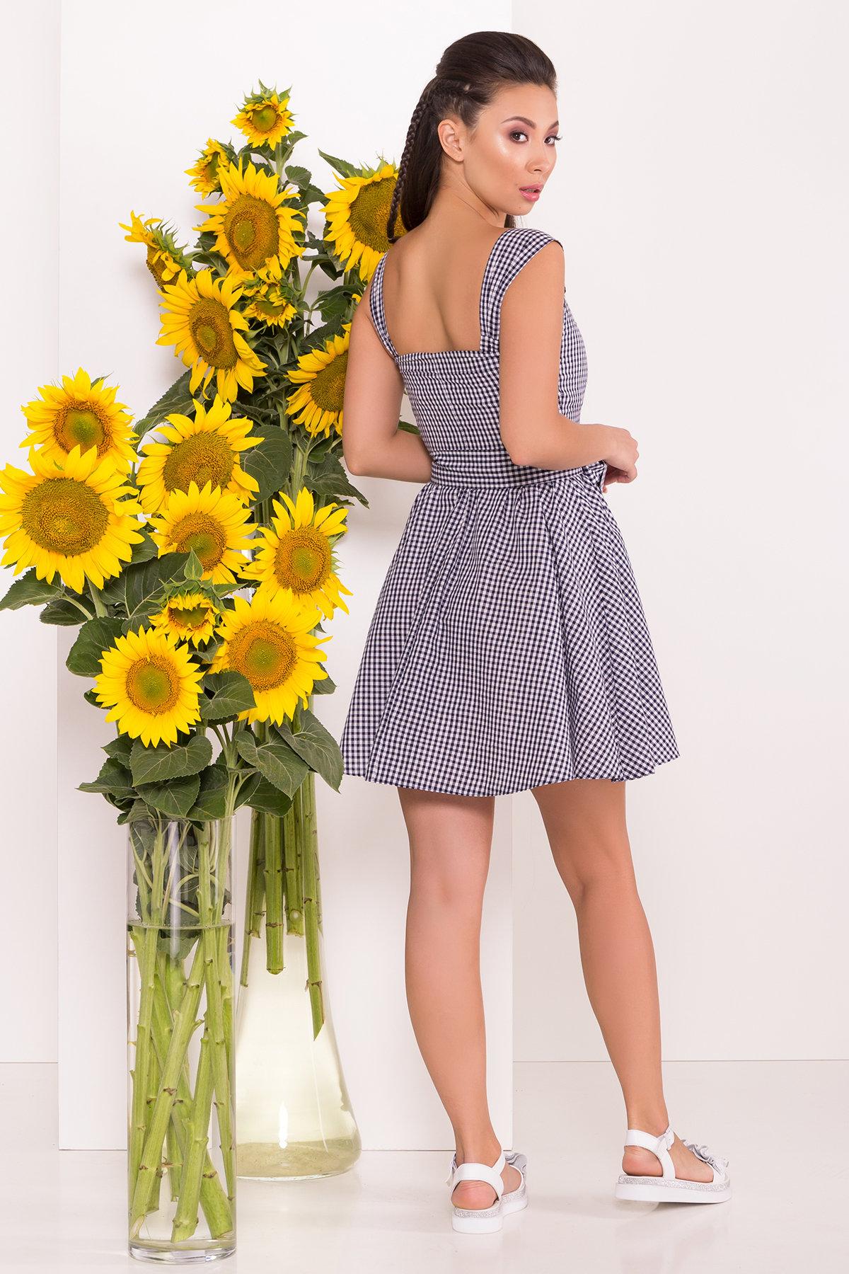 Платье в мелкую клетку Джонни 7584 Цвет: Т.син/белый