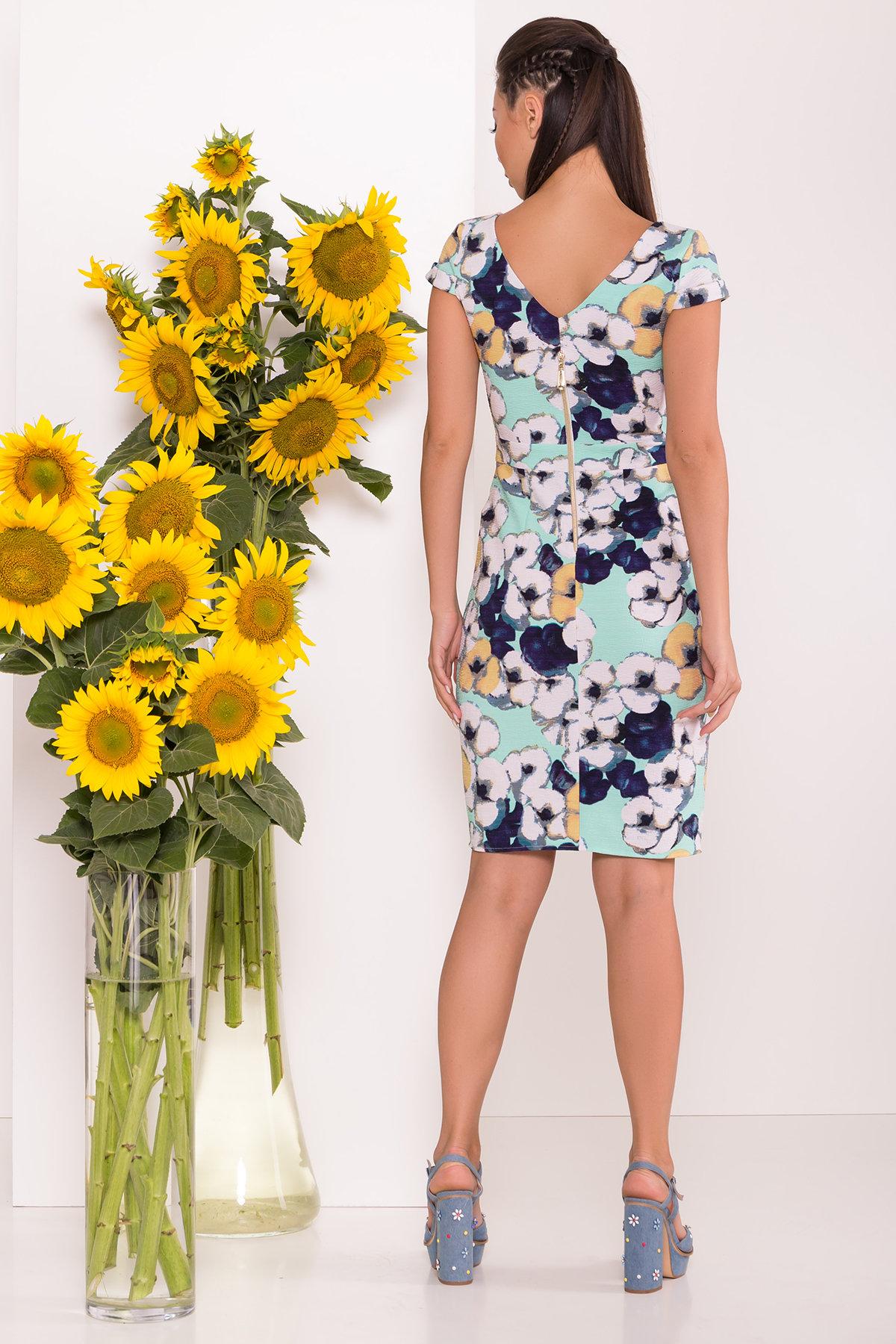 Платье Марсель 7612 АРТ. 43538 Цвет: Ромашка бирюза больш - фото 2, интернет магазин tm-modus.ru