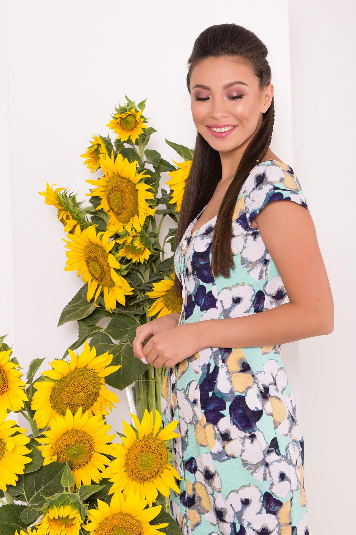 Платье Марсель 7612 АРТ. 43538 Цвет: Ромашка бирюза больш - фото 3, интернет магазин tm-modus.ru