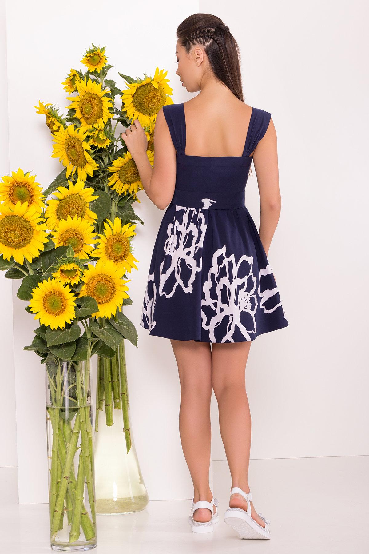 Платье Джонни 7615 АРТ. 43547 Цвет: Цветы белый,т.синий - фото 2, интернет магазин tm-modus.ru
