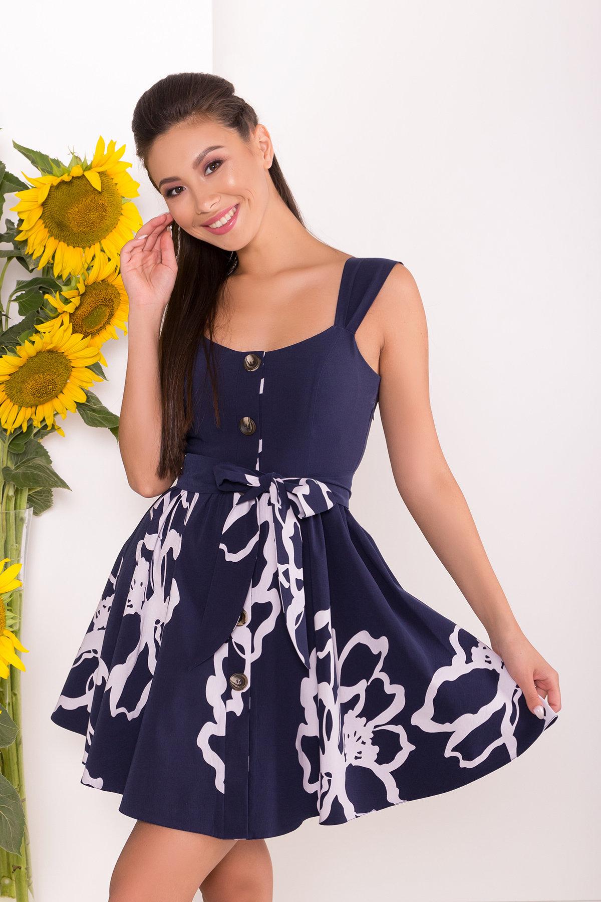 Платье Джонни 7615 АРТ. 43547 Цвет: Цветы белый,т.синий - фото 3, интернет магазин tm-modus.ru