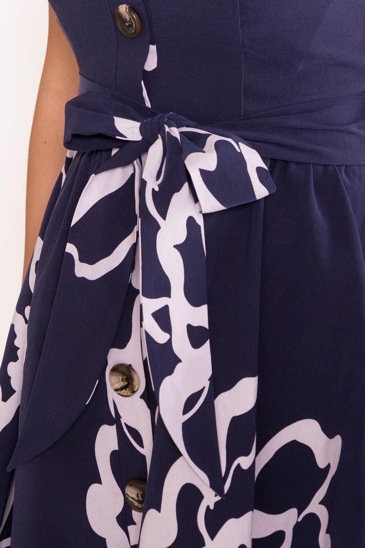 Платье Джонни 7615 АРТ. 43547 Цвет: Цветы белый,т.синий - фото 4, интернет магазин tm-modus.ru