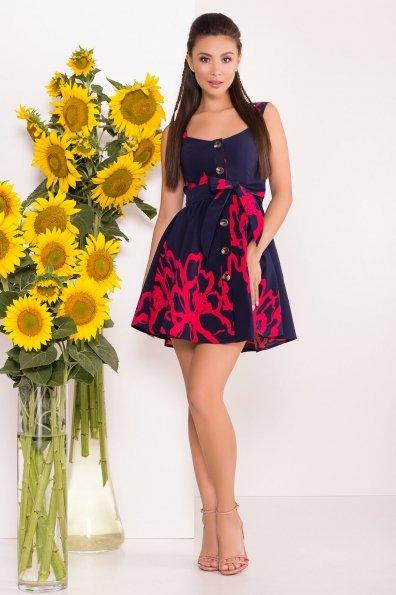 Платье Джонни 7615 Цвет: Цветы коралл.т.синий