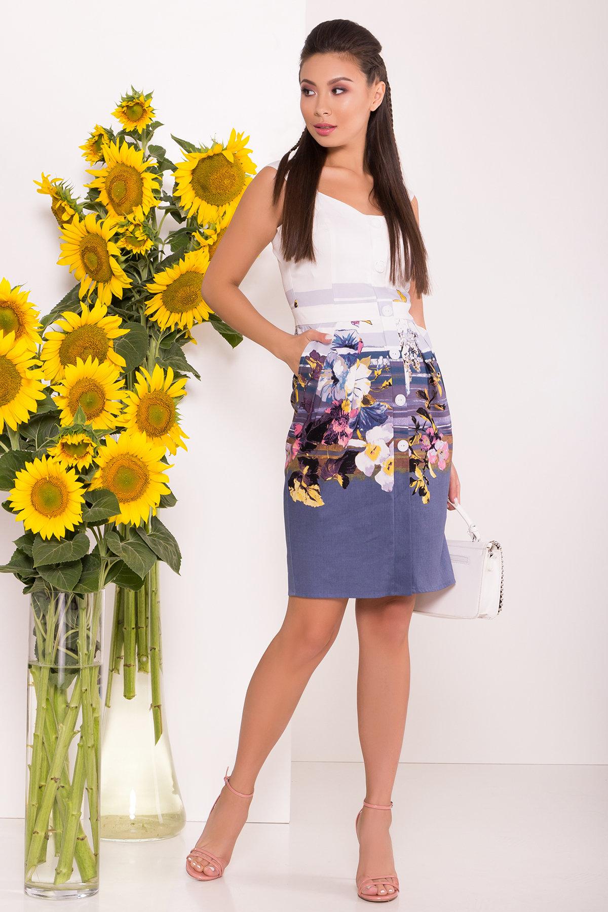 Платье Унгаро 7629 Цвет: Цветы, т.серый/белый