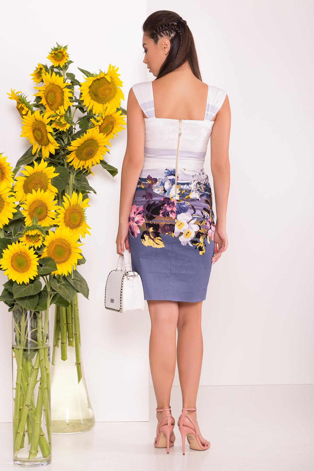 Платье Унгаро 7629 АРТ. 43554 Цвет: Цветы, т.серый/белый - фото 3, интернет магазин tm-modus.ru
