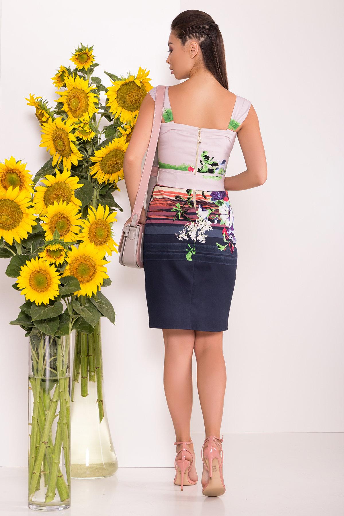 Платье Унгаро 7629 АРТ. 43555 Цвет: Цветы, т.синий/с.сирень - фото 2, интернет магазин tm-modus.ru