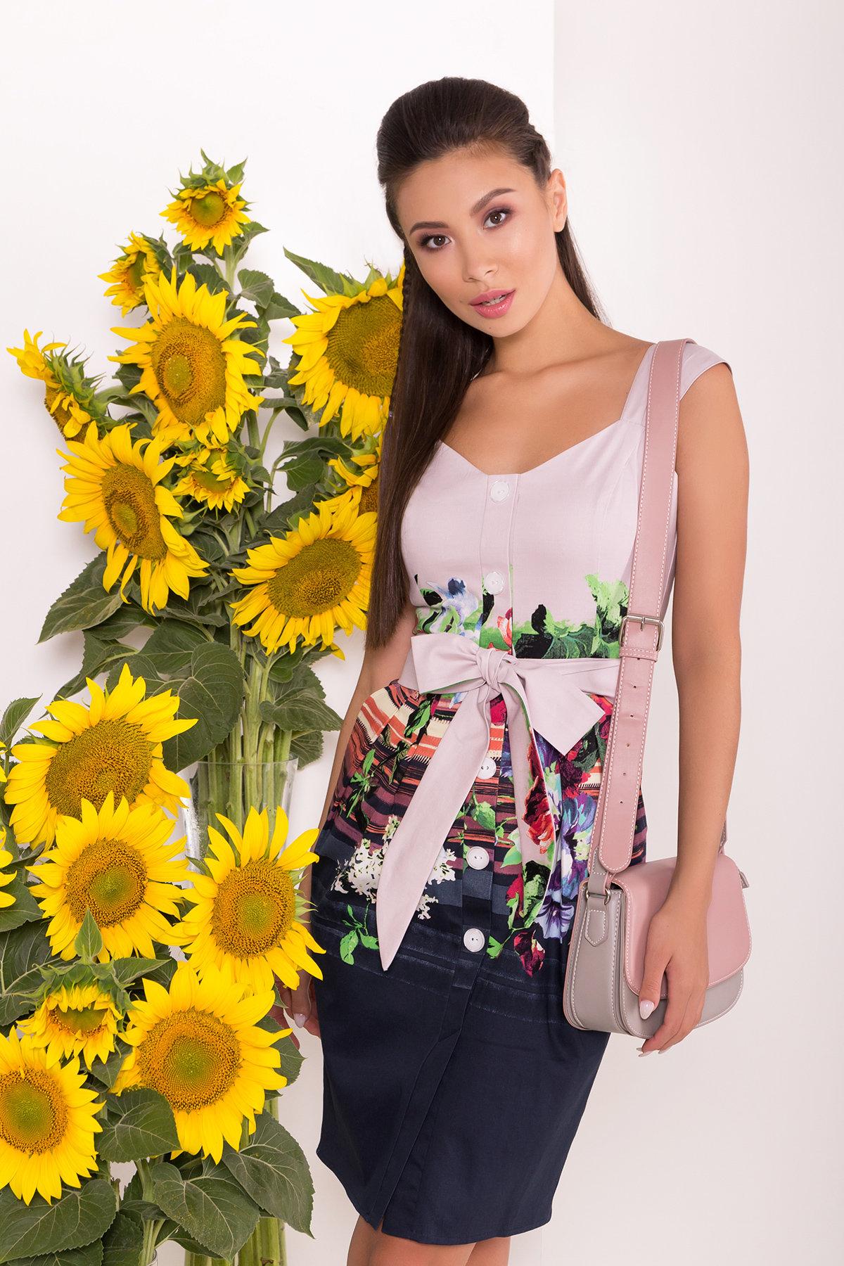 Платье Унгаро 7629 АРТ. 43555 Цвет: Цветы, т.синий/с.сирень - фото 3, интернет магазин tm-modus.ru