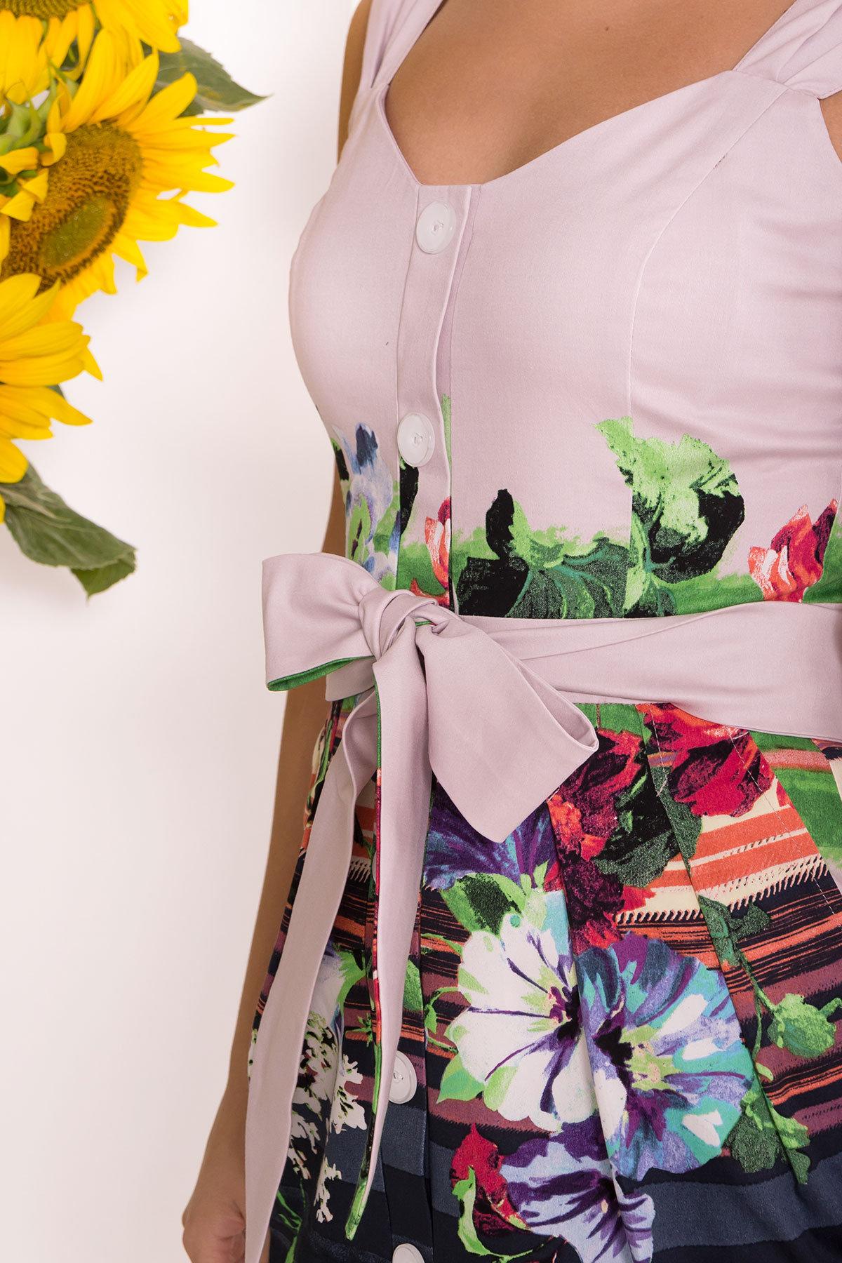 Платье Унгаро 7629 АРТ. 43555 Цвет: Цветы, т.синий/с.сирень - фото 4, интернет магазин tm-modus.ru