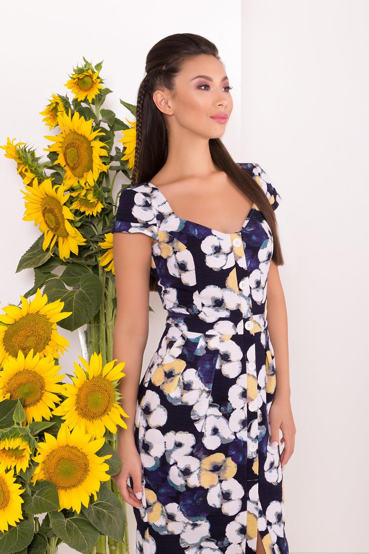 Платье Марсель 7612 АРТ. 43549 Цвет: Ромашка т.син больш - фото 3, интернет магазин tm-modus.ru