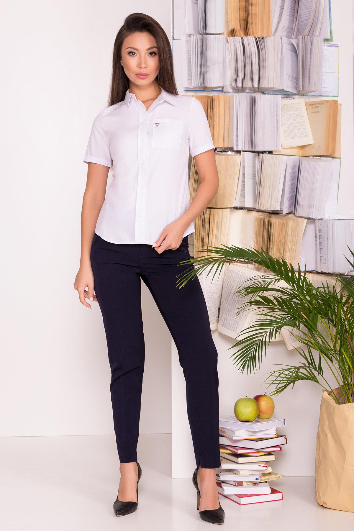 Блузы купить Украина Белая блузка с накладным карманом Дженна 5285