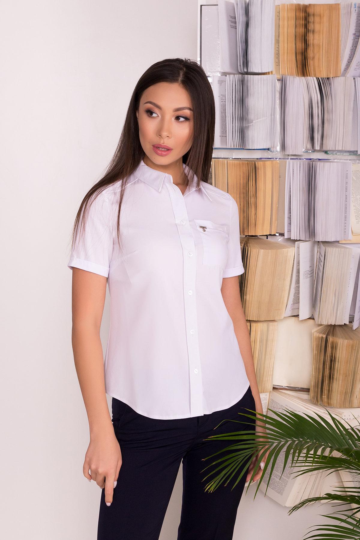 Белая блузка с накладным карманом Дженна 5285 АРТ. 36526 Цвет: Белый - фото 5, интернет магазин tm-modus.ru