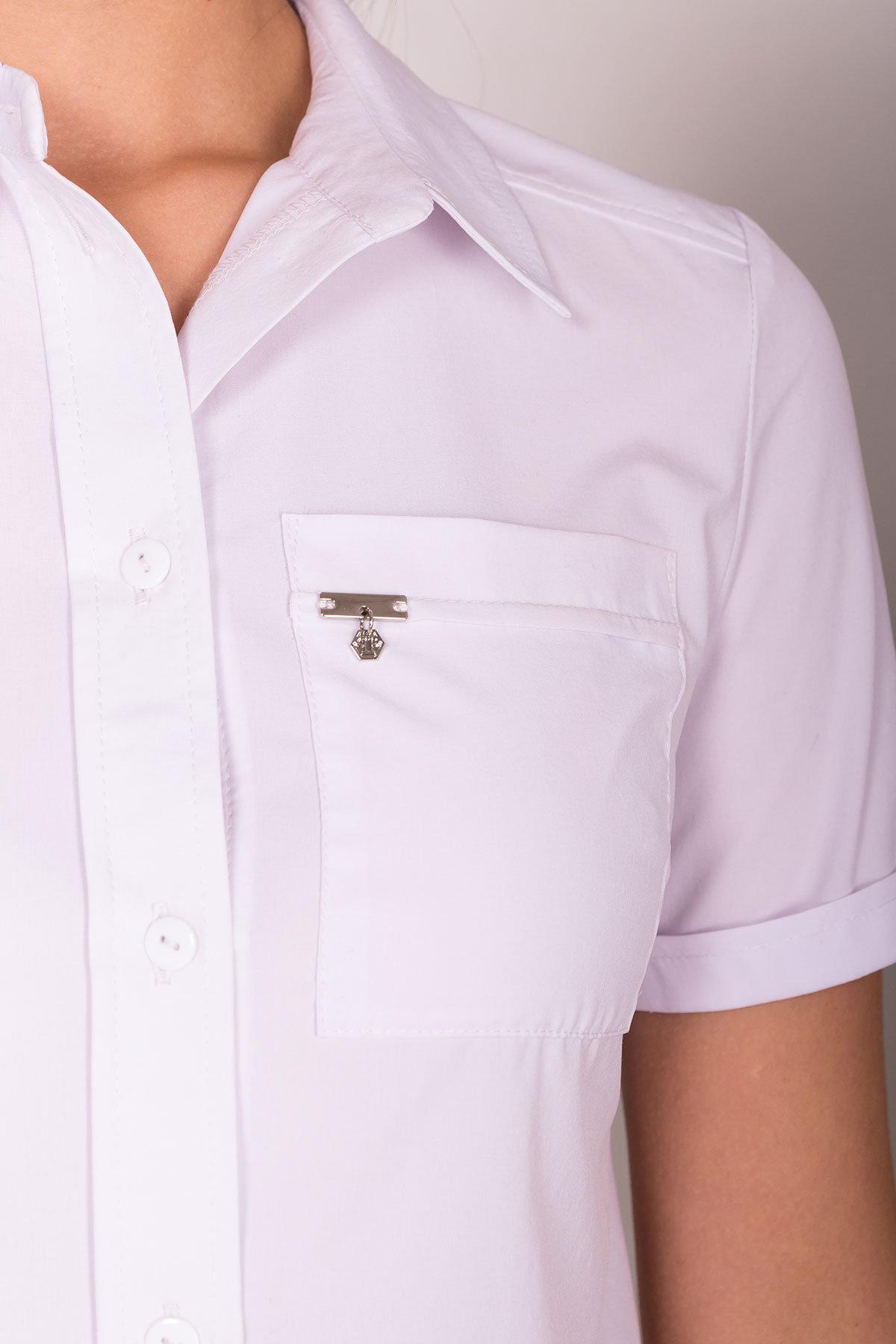 Белая блузка с накладным карманом Дженна 5285 АРТ. 36526 Цвет: Белый - фото 7, интернет магазин tm-modus.ru