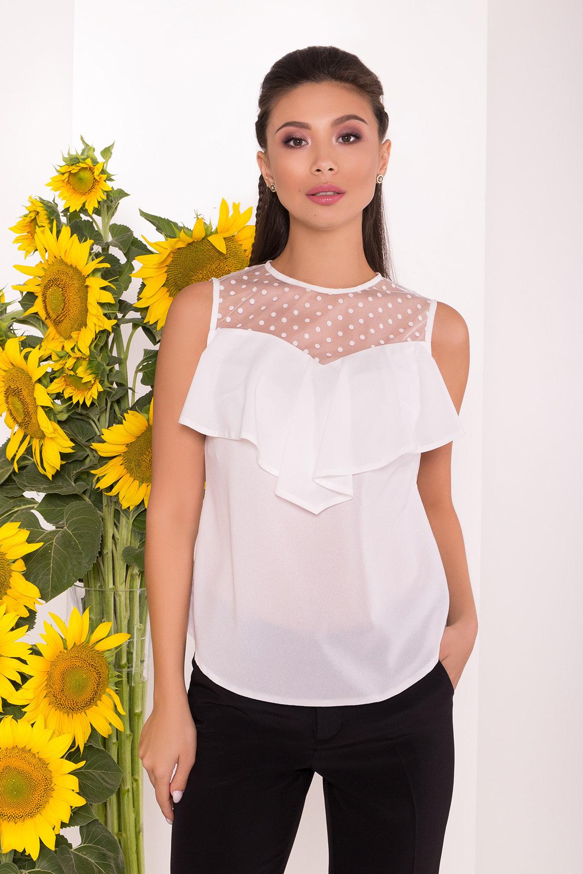Блузка с оборками на груди Талина 7368 АРТ. 43573 Цвет: Белый - фото 3, интернет магазин tm-modus.ru