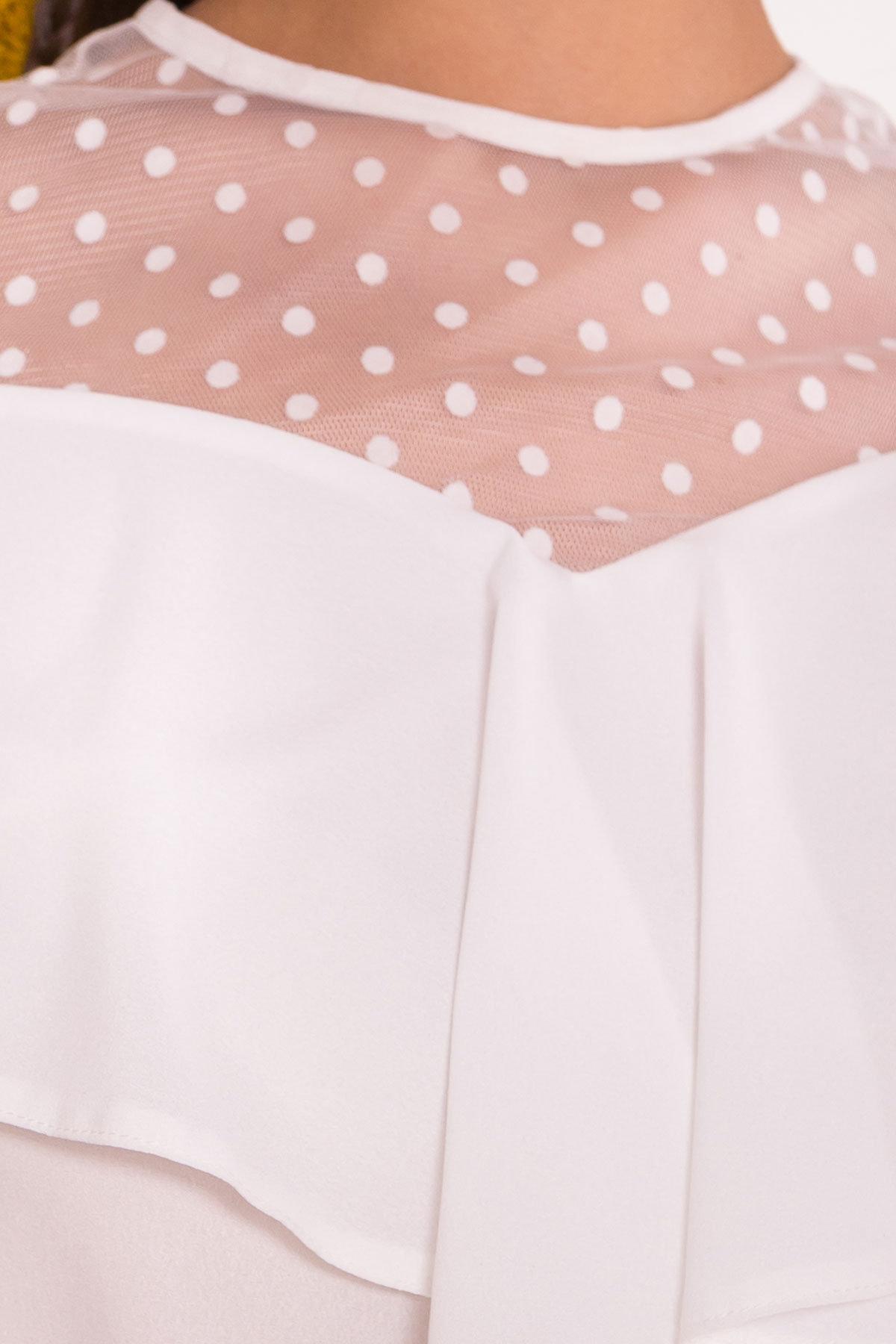 Блузка с оборками на груди Талина 7368 АРТ. 43573 Цвет: Белый - фото 4, интернет магазин tm-modus.ru