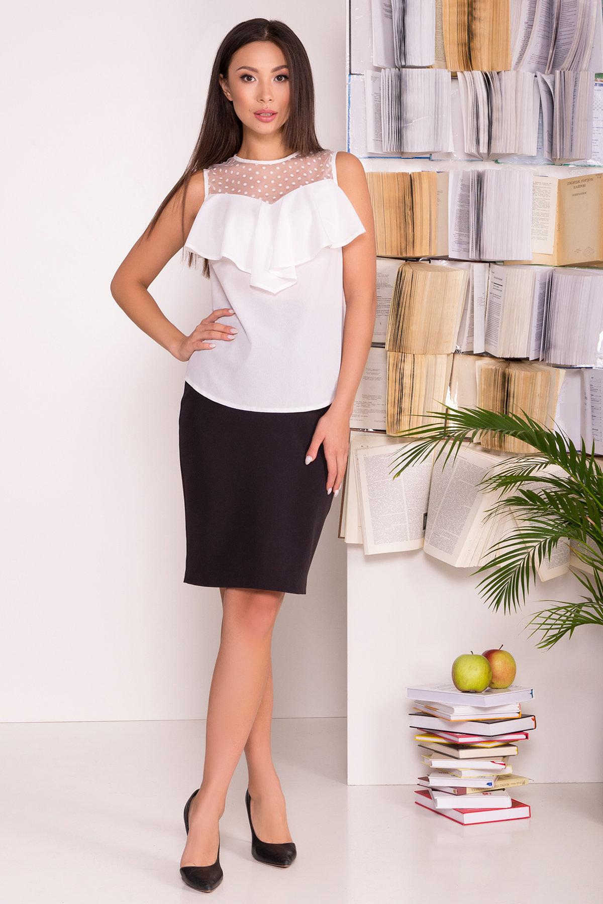 Блузка с оборками на груди Талина 7368 АРТ. 43573 Цвет: Белый - фото 5, интернет магазин tm-modus.ru