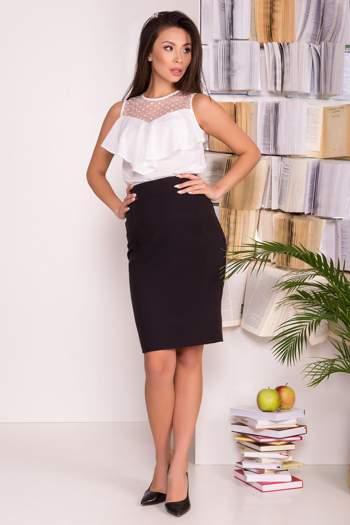 Оптом белые блузки от производителя Modus Блузка с оборками на груди Талина 7368