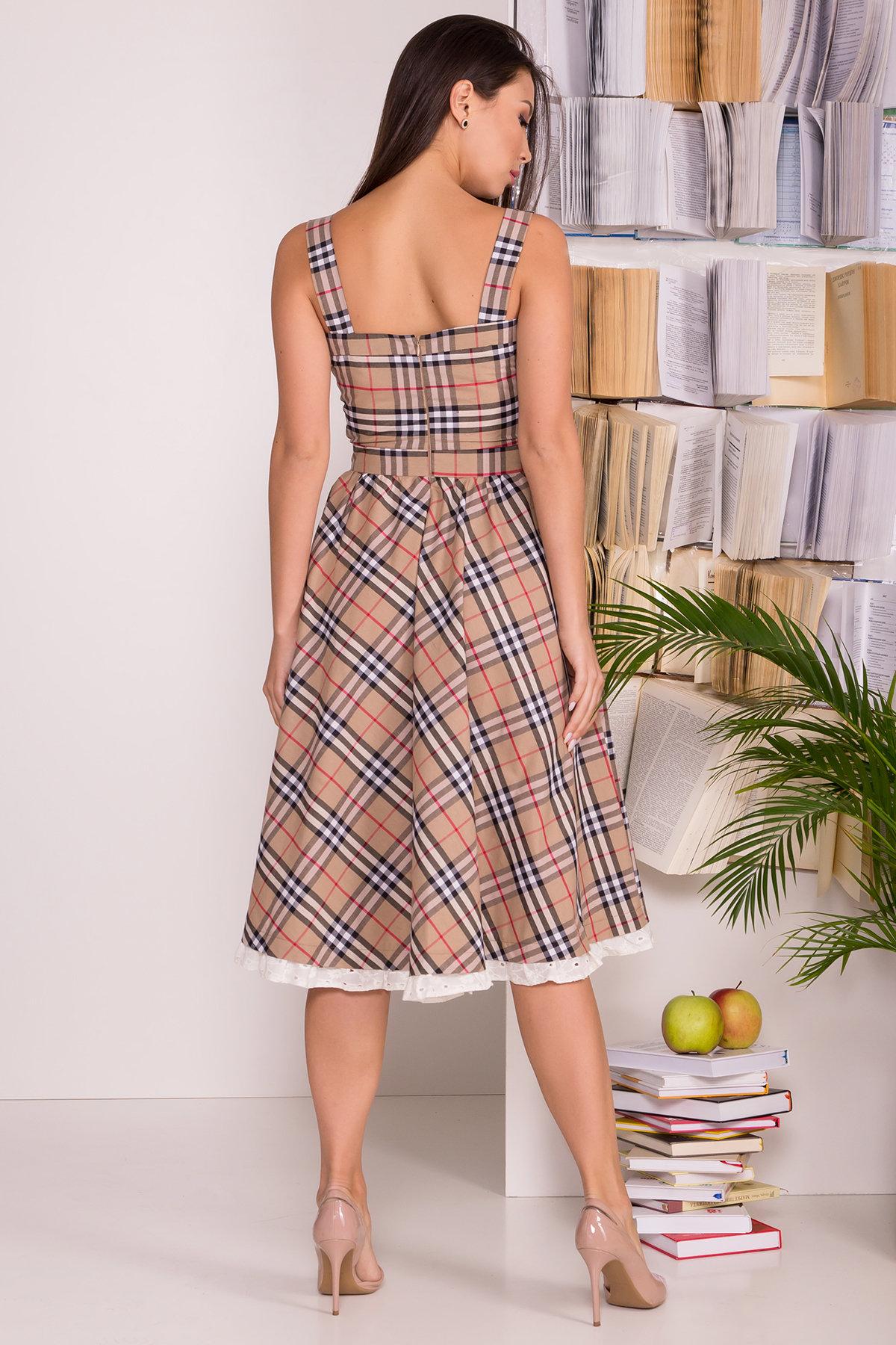 Платье Ивиса 7640 АРТ. 43569 Цвет: Беж/клетка черн - фото 2, интернет магазин tm-modus.ru