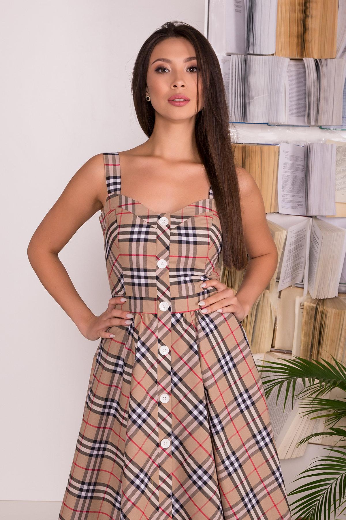 Платье Ивиса 7640 АРТ. 43569 Цвет: Беж/клетка черн - фото 3, интернет магазин tm-modus.ru