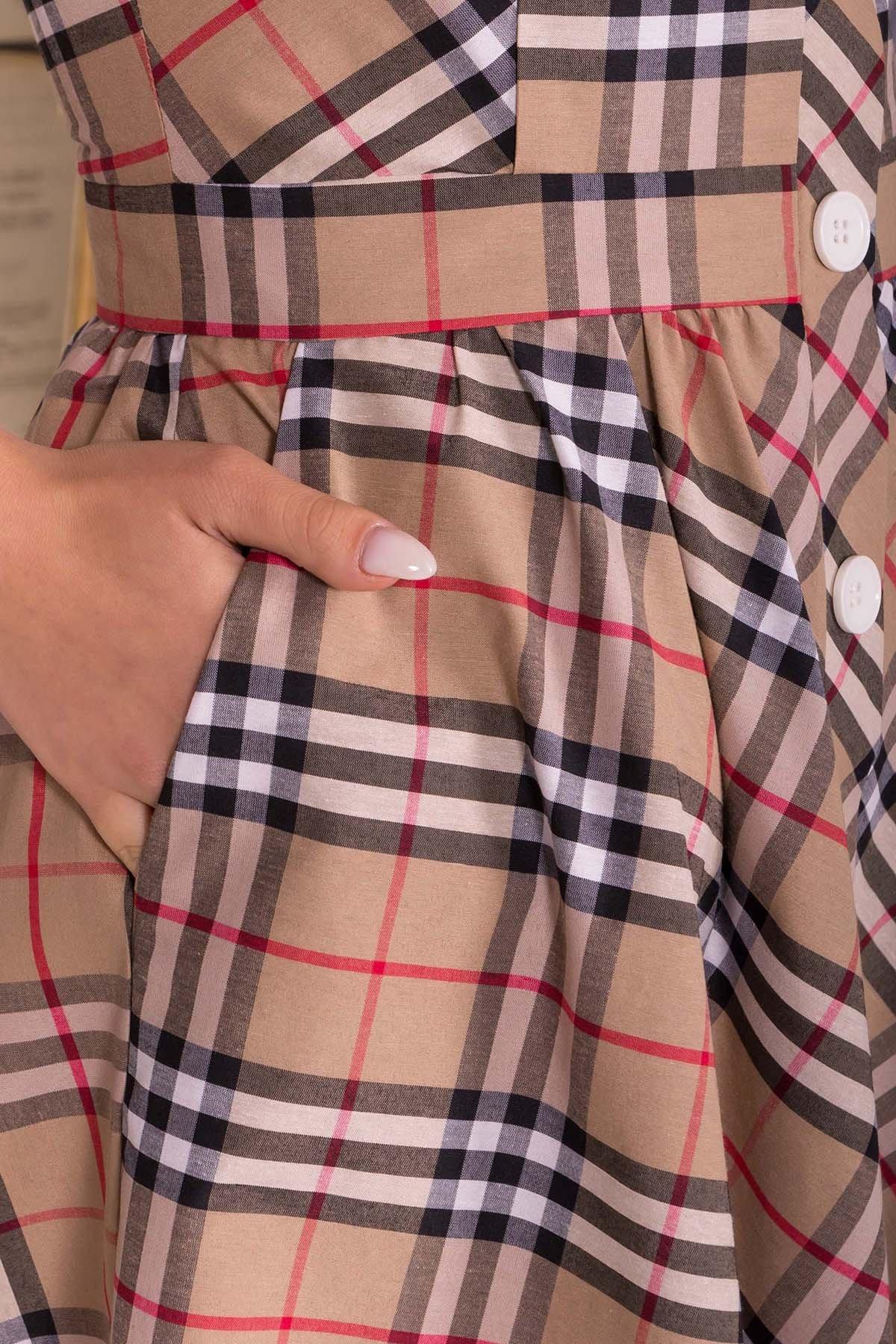 Платье Ивиса 7640 АРТ. 43569 Цвет: Беж/клетка черн - фото 4, интернет магазин tm-modus.ru