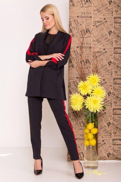 Брючный костюм с лампасами Макеба 7715 Цвет: Черный/красный