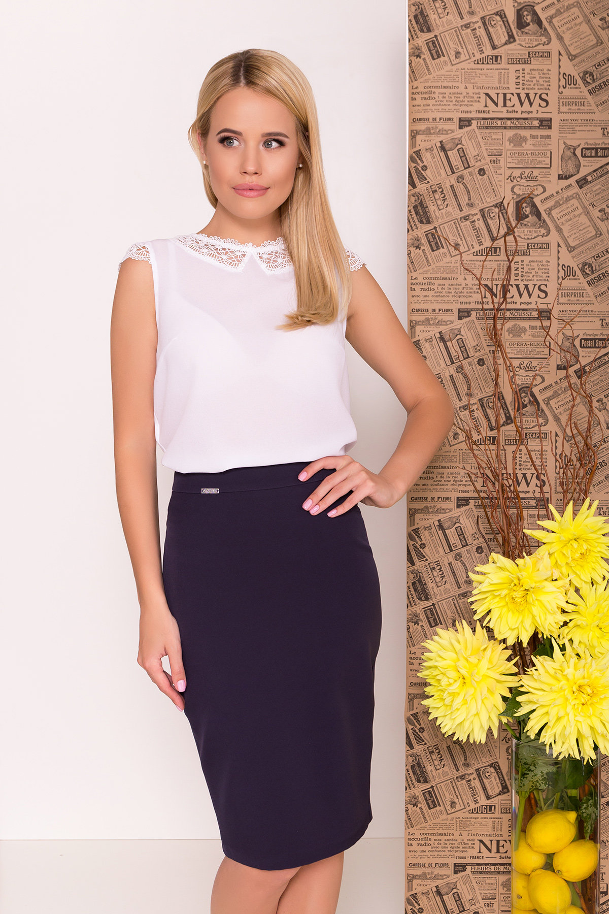 Блуза Алмея 7662 АРТ. 43605 Цвет: Белый (1) - фото 4, интернет магазин tm-modus.ru
