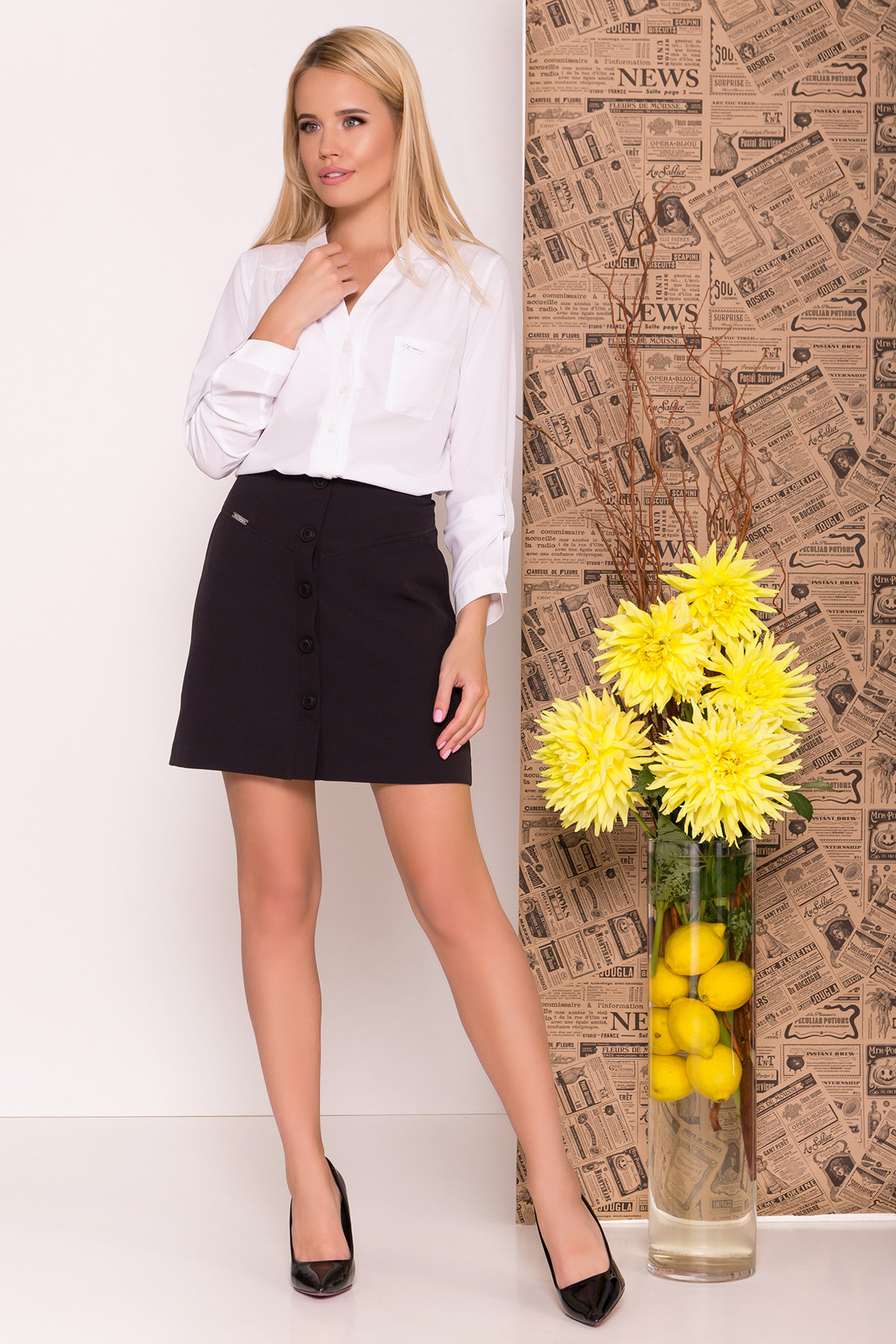Блуза с длинным рукавом рукавом Кумир 7698 Цвет: Белый