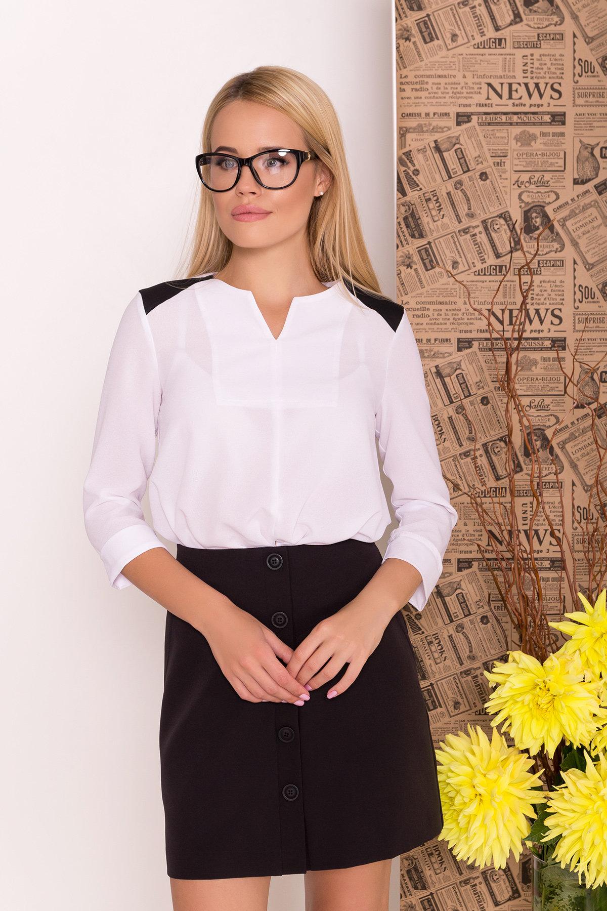 Блуза рукав 3/4 Модена 7728 АРТ. 43656 Цвет: Белый/черный - фото 3, интернет магазин tm-modus.ru
