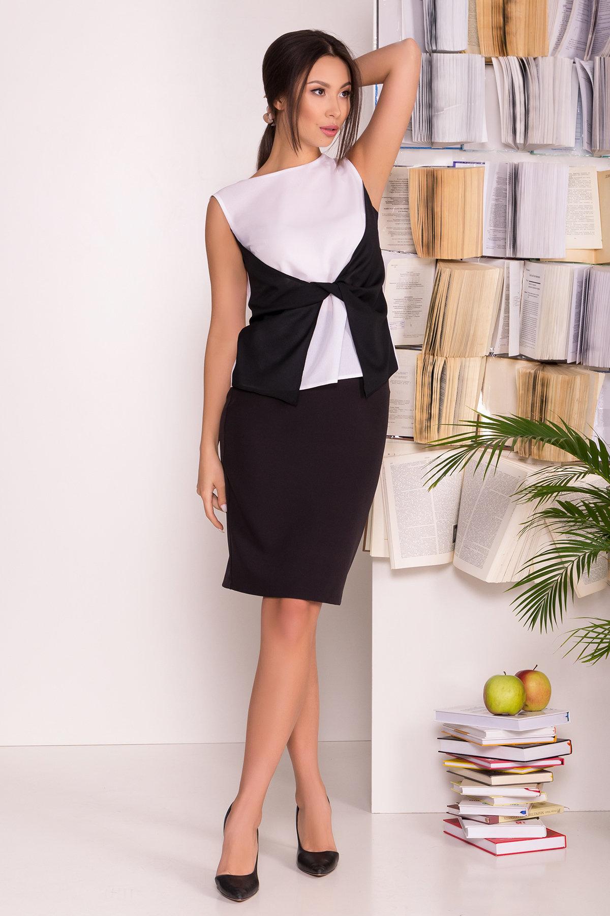 Черно-белая блуза Борнео 7655 АРТ. 43640 Цвет: Белый/черный - фото 2, интернет магазин tm-modus.ru