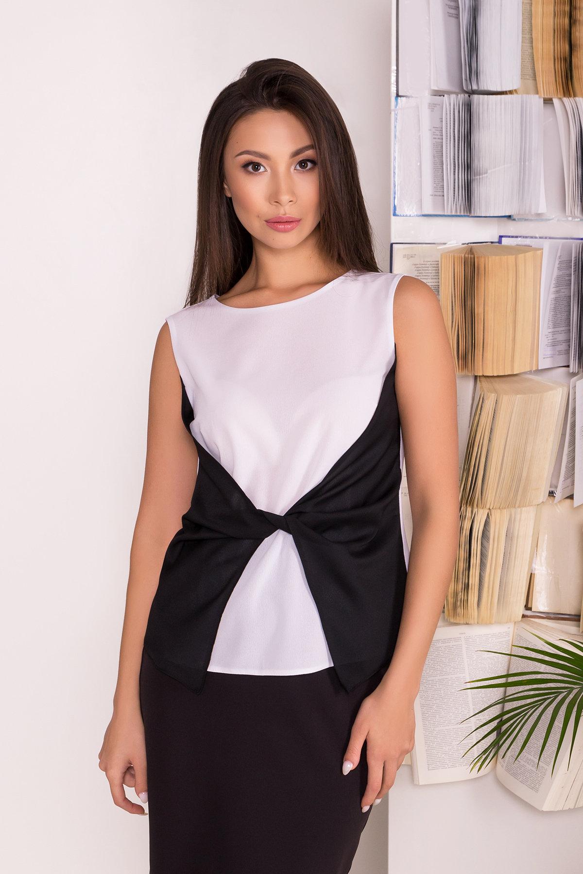 Черно-белая блуза Борнео 7655 АРТ. 43640 Цвет: Белый/черный - фото 4, интернет магазин tm-modus.ru