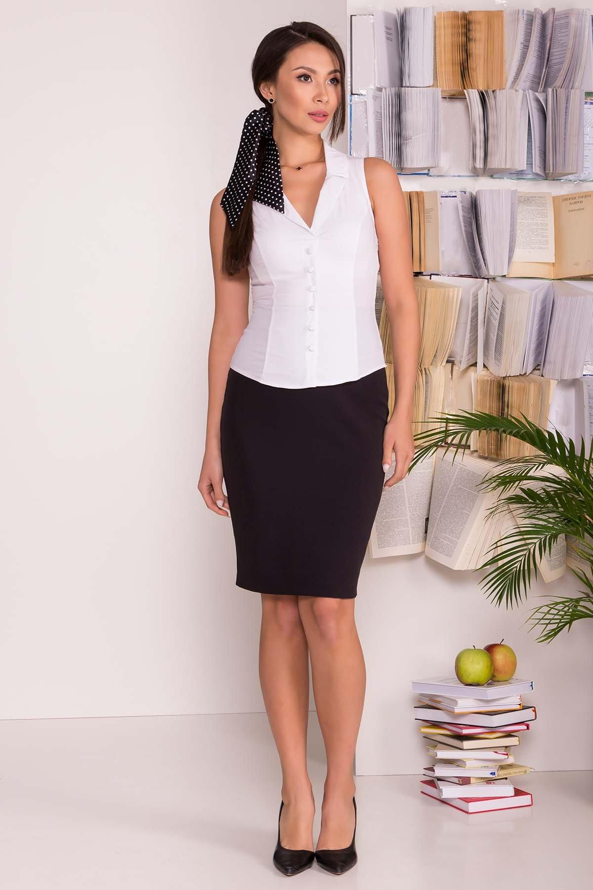 Женские блузки оптом от производителя Блуза приталенного кроя без рукавов Санти  7658