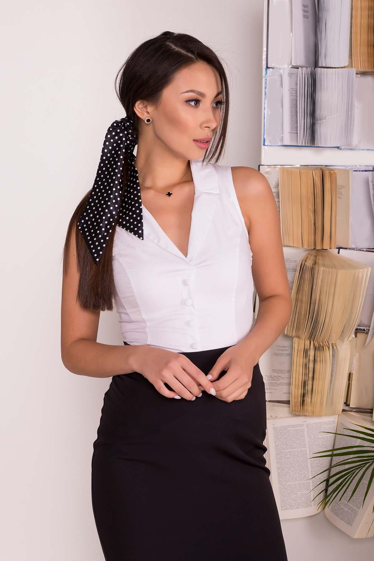 Блуза приталенного кроя без рукавов Санти  7658 АРТ. 43588 Цвет: Белый - фото 4, интернет магазин tm-modus.ru