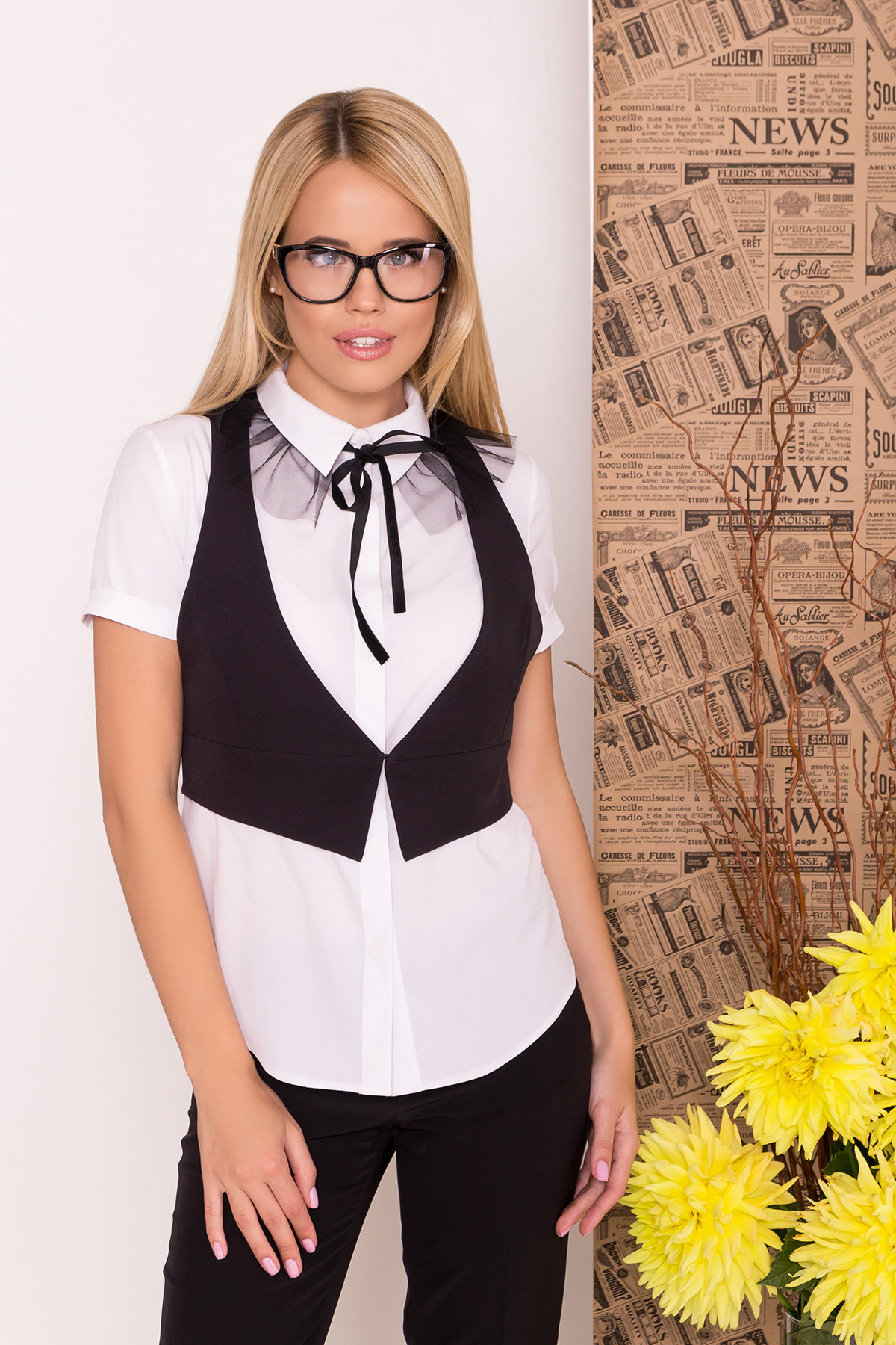 Блузка с жилетом Джетта 7794 АРТ. 43664 Цвет: Белый/черный - фото 4, интернет магазин tm-modus.ru